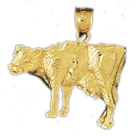 14K GOLD ANIMAL CHARM - COW #2639