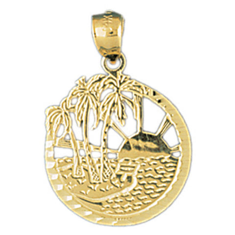 14K GOLD ASSORTED NAUTICAL CHARM - PALM TREE #1434