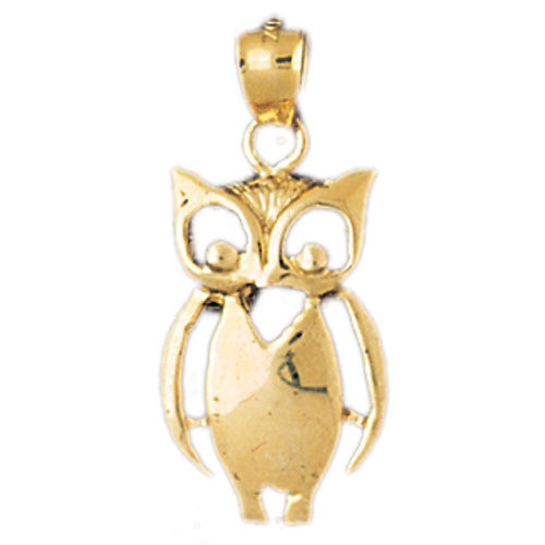 14K GOLD BIRD CHARM - OWL #3072