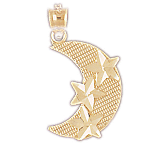 14K GOLD CHARM - MOON AND STAR #5625