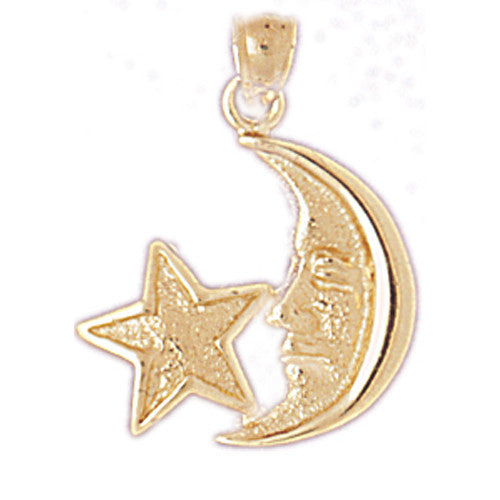 14K GOLD CHARM - MOON AND STAR #5628