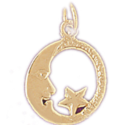 14K GOLD CHARM - MOON AND STAR #5634