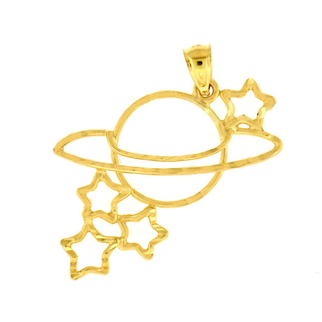 14K GOLD CHARM - PLANET AND STARS #5685