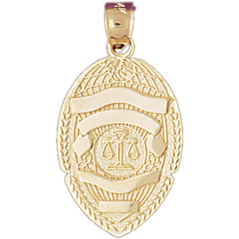 14K GOLD CHARM - POLICE BADGE #4553