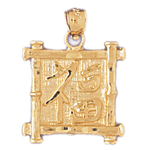 14K GOLD CHINESE ZODIAC CHARM - LUCK #9319