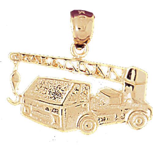 14K GOLD CONSTRUCTION CHARM - CRANE TRUCK # 4310