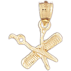 14K GOLD HAIRDRESSER CHARM - COMB AND SCISSORS #6383