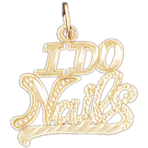 14K GOLD HAIRDRESSER CHARM - I DO NAILS #6362