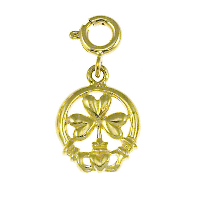 14K GOLD IRISH CLADDAH CHARM #7028