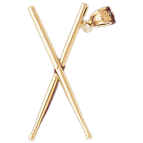 14K GOLD MUSIC CHARM - DRUM STICKS #6242