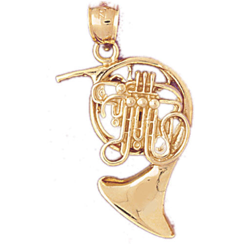 14K GOLD MUSIC CHARM - FRENCH HORN #6176
