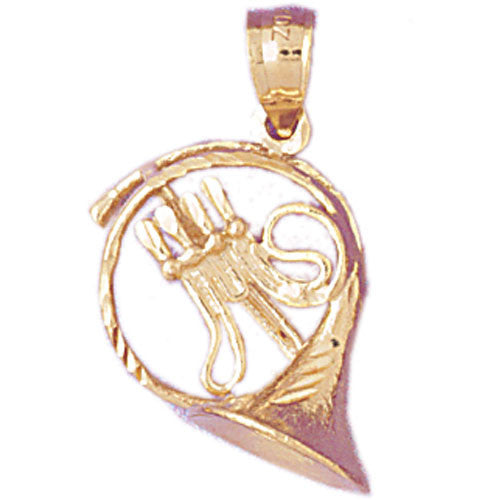 14K GOLD MUSIC CHARM - FRENCH HORN #6177