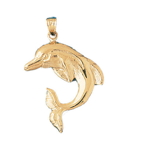 14K GOLD NAUTICAL CHARM - DOLPHIN #417