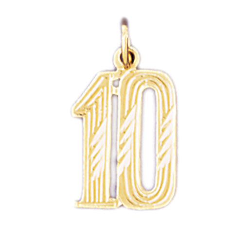 14K GOLD NUMERAL CHARM - #10 #9539
