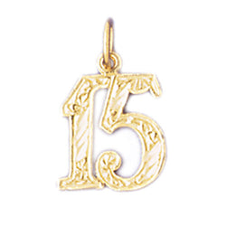 14K GOLD NUMERAL CHARM - #15 #9524