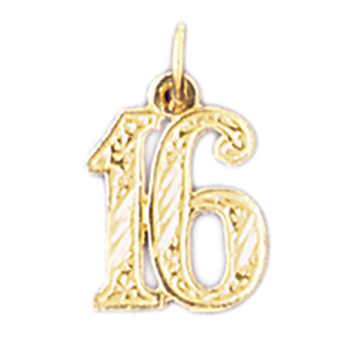 14K GOLD NUMERAL CHARM - #16 #9525