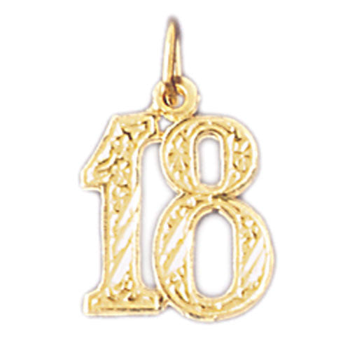 14K GOLD NUMERAL CHARM - #18 #9526