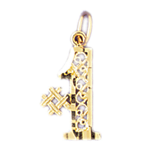 14K GOLD NUMERAL CHARM - #1 #9533