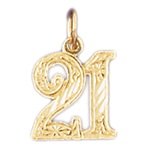14K GOLD NUMERAL CHARM - #21 #9527