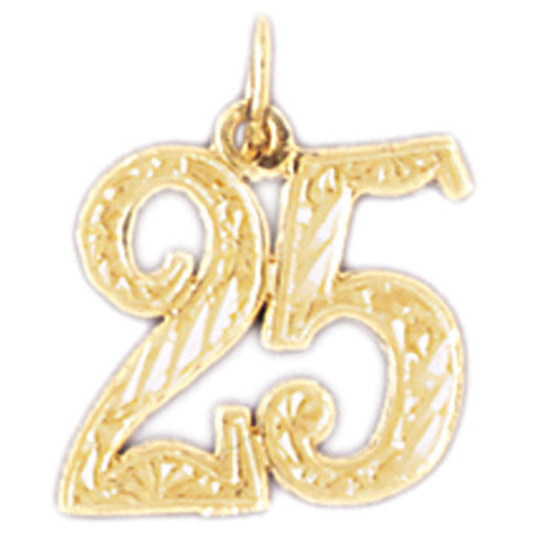 14K GOLD NUMERAL CHARM - #25 #9528