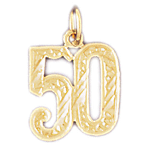 14K GOLD NUMERAL CHARM - #50 #9529