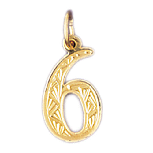 14K GOLD NUMERAL CHARM - #6 #9519
