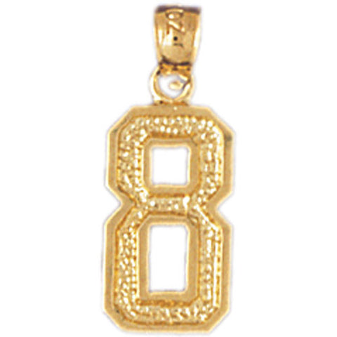 14K GOLD NUMERAL CHARM - 8 #9555