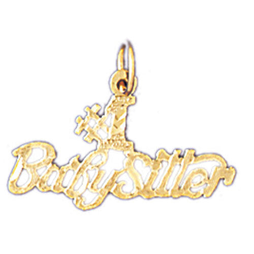 14K GOLD SAYING CHARM - #1 BABYSITTER #10490