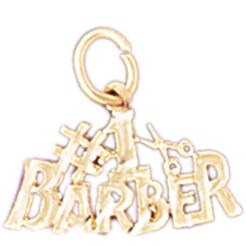 14K GOLD SAYING CHARM - #1 BARBER #6395