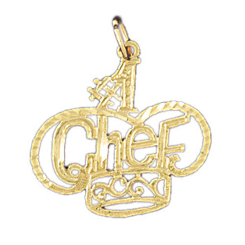 14K GOLD SAYING CHARM - #1 CHEF #10830