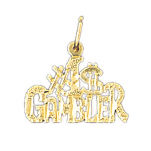 14K GOLD SAYING CHARM - #1 GAMBLER #10799
