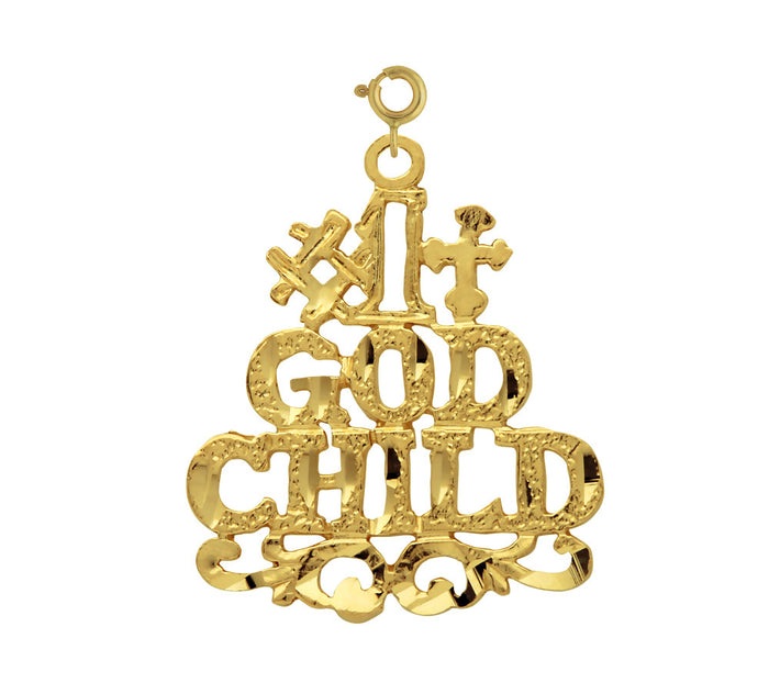 14K GOLD SAYING CHARM - #1 GODCHILD #10476