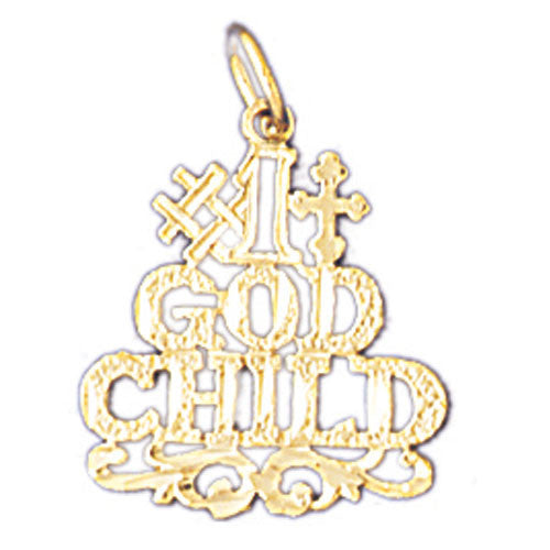 14K GOLD SAYING CHARM - #1 GODCHILD #10477