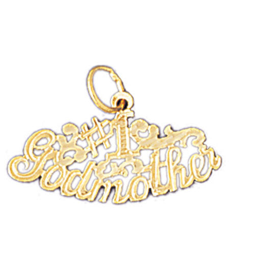 14K GOLD SAYING CHARM - #1 GODMOTHER #10475