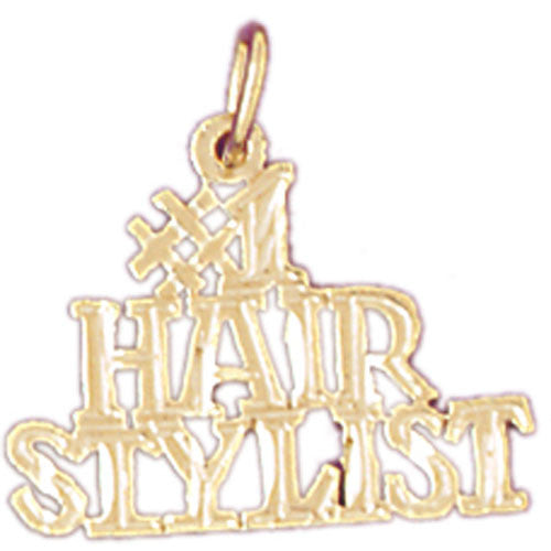 14K GOLD SAYING CHARM - #1 HAIR STYLIST #6367