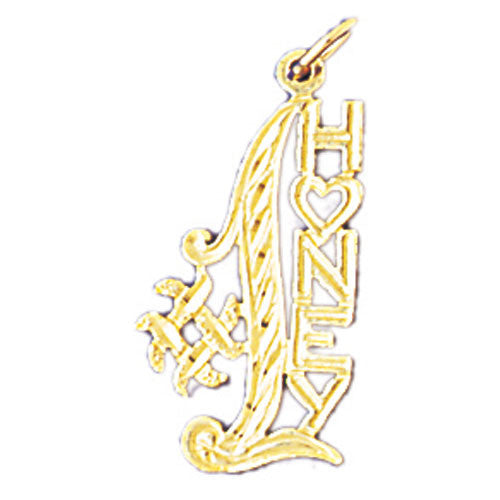 14K GOLD SAYING CHARM - #1 HONEY #10293