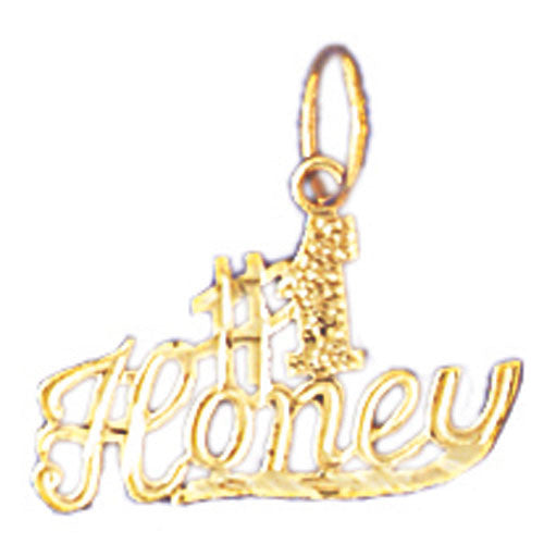 14K GOLD SAYING CHARM - #1 HONEY #10295