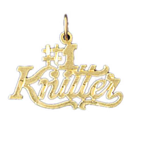 14K GOLD SAYING CHARM - #1 KNITTER #10805