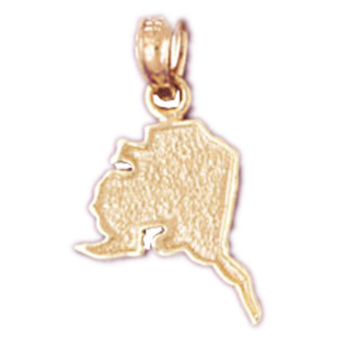 14K GOLD TRAVEL MAP CHARM - ALASKA #5036