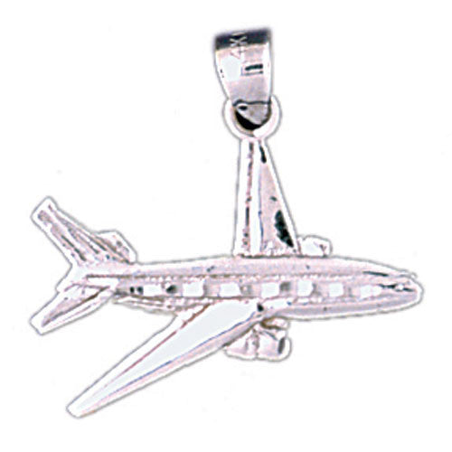 14K WHITE GOLD AIRPLANE CHARM #11292