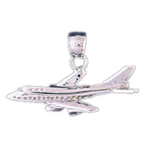 14K WHITE GOLD AIRPLANE CHARM #11293
