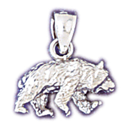14K WHITE GOLD ANIMAL CHARM - BEAR #11078
