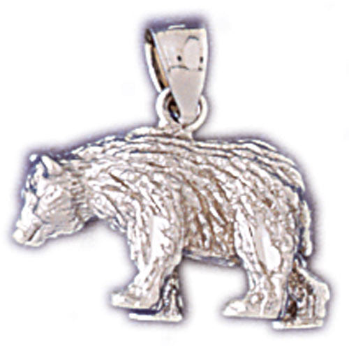 14K WHITE GOLD ANIMAL CHARM -  BEAR #11113