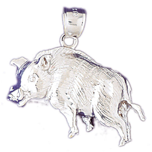 14K WHITE GOLD ANIMAL CHARM - BOAR #11085