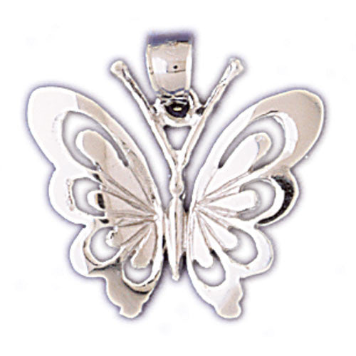 14K WHITE GOLD ANIMAL CHARM - BUTTERFLY #11100