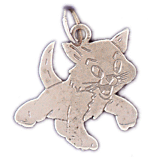 14K WHITE GOLD ANIMAL CHARM - CAT #11140