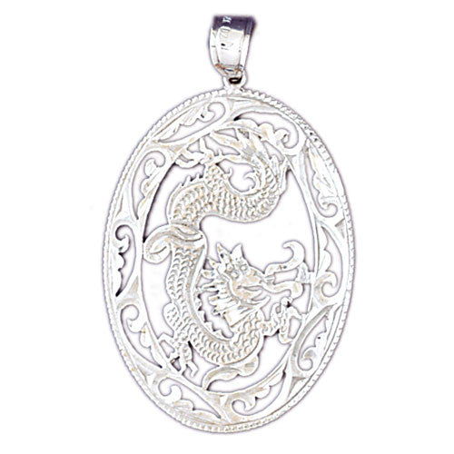 14K WHITE GOLD ANIMAL CHARM - CHINESE DRAGON #11081