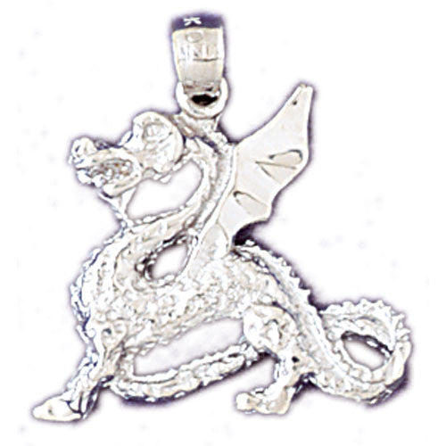 14K WHITE GOLD ANIMAL CHARM - CHINESE DRAGON #11083