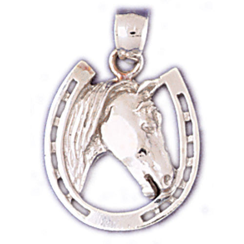 14K WHITE GOLD ANIMAL CHARM - HORSESHOE #11121
