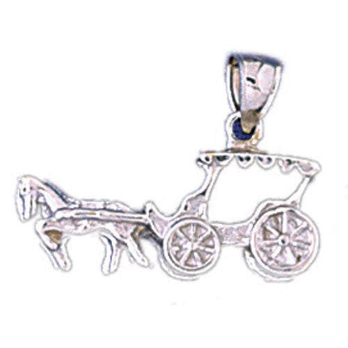 14K WHITE GOLD CARIAGE CHARM #11295